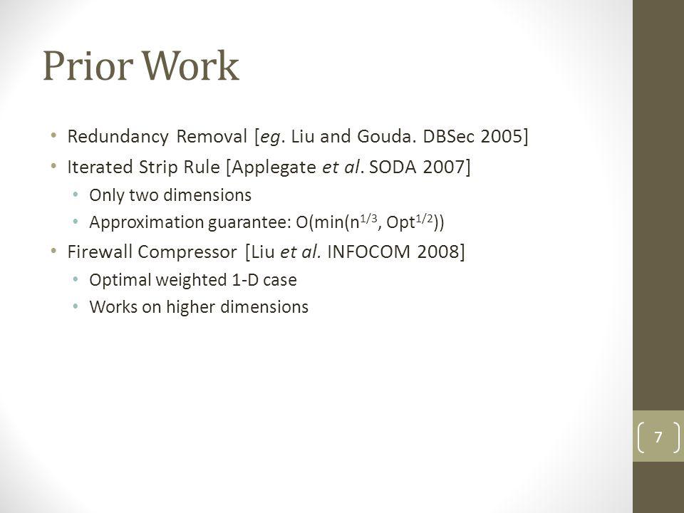 Prior Work Redundancy Removal [eg. Liu and Gouda. DBSec 2005]